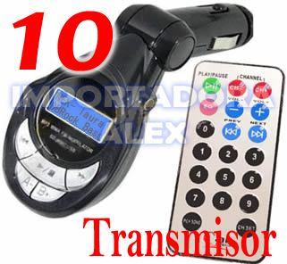 10 Transmisor Fm Lcd Pantalla Usb Sd Mp3 Control Plugin 3.5
