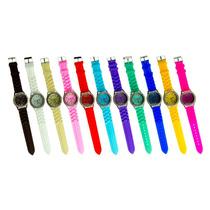 Lote 10 Relojes De Silicon Tipo Geneva Con Subdiales