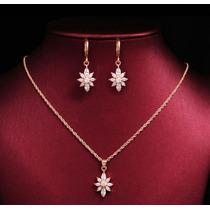 Dije Collar Y Aretes Flor Cristal Swarovski Elements Regalo
