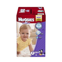 Huggies Little Movers Pañales Tamaño 3 128 Count (embalaje P