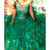 Vestido Para Quinceañera Color Verde Tornasol