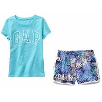 Conj Gap Niña Talla 4,5/6,7/8 Shorts Y Blusa C/logo Gap Nuev