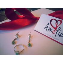 Precioso Juego Anillo-aretes Oro 14k Con Esmeralda Natural