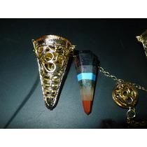 Pendulo De Caja Dorada Simbolo De Ohm Con Cuarzo 7 Colores