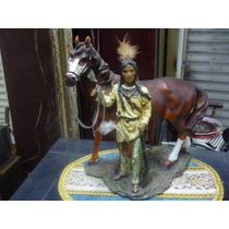 Figura De Indio Cherokee Con Su Caballo Traida De Usa Resina
