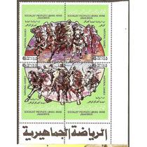 Libia Hojita De 4 Estampillas Juegos A Caballo Africa Vbf