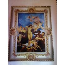 Pintura Al Oleo Y Marco De Cedro Nacimiento De Venus