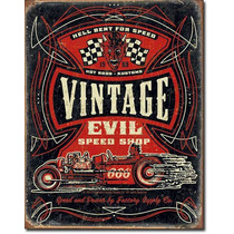 Poster Metalico Vintage Retro Vintage Evil Speed Shop Hot Ro