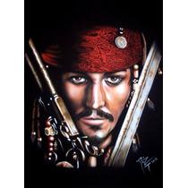 Playera Aerografia Jack Sparrow, Piratas De El Caribe, Arte