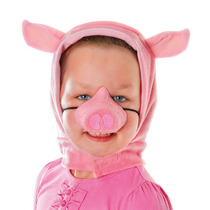 Cerdo Traje - Pink Piglet Capucha & Nariz Set 3 Tres Pequeñ