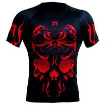 Rashguard Mmachines Skull Red Short Sleeve Mma Bjj Talla L