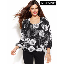 Envio Blusa 8 Alfani Chiffon Floral Negra Blanca Manga Larga