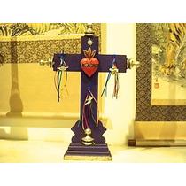 Cruz Con Sagrado Corazón, Listones Y Milagros (morada)