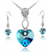 Swarovski Elements Pure Heart Set Dije Cadena Y Aretes