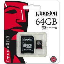 Kingston® Micro Sd Xc 64 Gb Clase 10 + Adaptador Sd Video Hd
