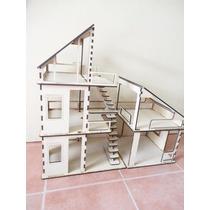 Casa Minimalista Moderna Para Muñecas Hecha En Madera Mdf