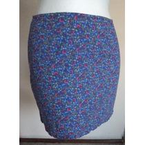 Minifalda Azul Floreadita Olán Inferior Talla 5-6! Fch316