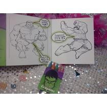 12 Invitaciones Hulk Cuento Para Coloreal Y Crayolas