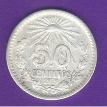 50 Centavos 1919 Plata Moneda Mexico Venustiano Carranza Hm4