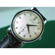 Reloj Bulova Oro Blanco 14k, Automático Con 14 Diamantes.