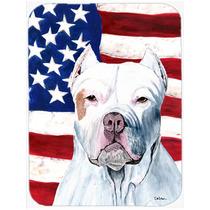 Bandera Americana Con Ee.uu. Pit Bull De Cristal Tabla De Co