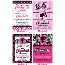 Invitaciones Barbie Silueta Cumpleaños Fiesta Kit Imprimible