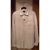 Express Camisa Manga Larga Lisa De Lino, Color Beige.