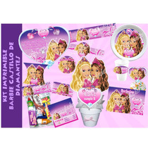 Kit Imprimible Barbie Castillo De Diamantes Tarjetas Invitac