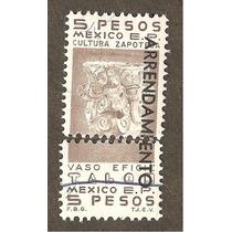Estampilla Con Talon Fiscal 5 Pesos Vaso Cultura Zapotec