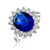 Bling Jewelry 925 Sterling 4ct Zafiro Ovalado Anillo De Comp