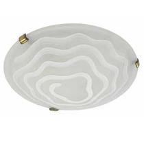 Plafón Con Pantalla De Cristal Decorado Espiral 30cm Lt