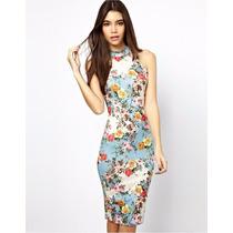 Vestido Moda Primavera Flores Casual Fiesta Midi Falda 2016