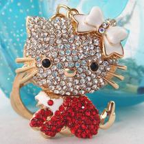 Llavero Con Swarovski Gato Hello Kitty Rojo