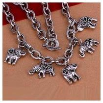 Collar-5 Dijes-elefantes-plata .925-cristales- Flete Gratis