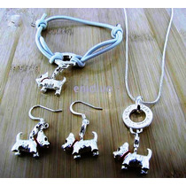 Dije,cadena,aretes,pulsera- Perro-plata.925-esmaltado-
