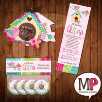 Kit Bautizo Comunion Bird Niña Niño Invitaciones Oraciones