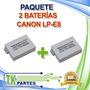 Kit Dos Baterías Canon Lp-e8 Rebel T2 T2i T3i Kiss X4 X5