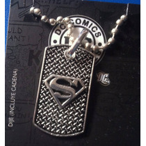 Dije Superman Tag Con Textura Original Dc Comics Igo Colecci
