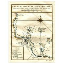 Lienzo Mapa Villa De La Vera Cruz Grabado Francés 1754 Plano