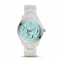 Reloj Fossil Mod. Es4019 Blanco Marmol Para Dama