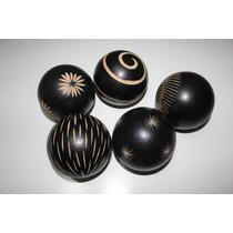 Bolas De Madera Decorativas 5pzas