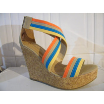 Hermosas Zapatillas Colors Tacon Wedge Animal Print Original
