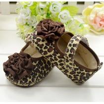 Zapatos Para Niña Bebé, Primeros Pasos, (leopardo). 11 Cm