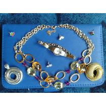 Lote Reloj Collar Aretes Prendedor Dije