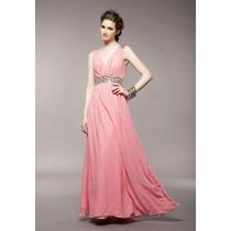 Vestido De Moda Oriental Rosa De Chifon Para Envio Inmediato