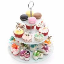 Base Redonda 3 Niveles Pastel Soporte Vidrio Marmol Cupcakes
