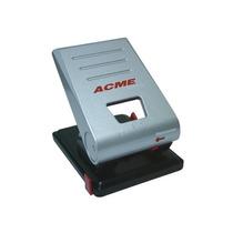 Perforadora De 2 Orificios Metalica C/ Regla Ajustable, Acme