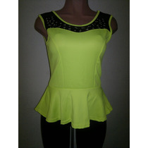 Moda Sexy Blusa Amarillo Naranja Neon Transparencias