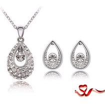 Set De Collar Con Dije Y Aretes De Austria Cristales / Vv4