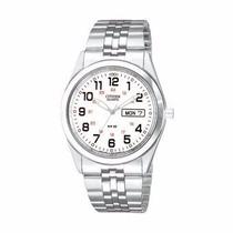Reloj Citizen Mens Ferrocarril Cara Blanca Acero Inx